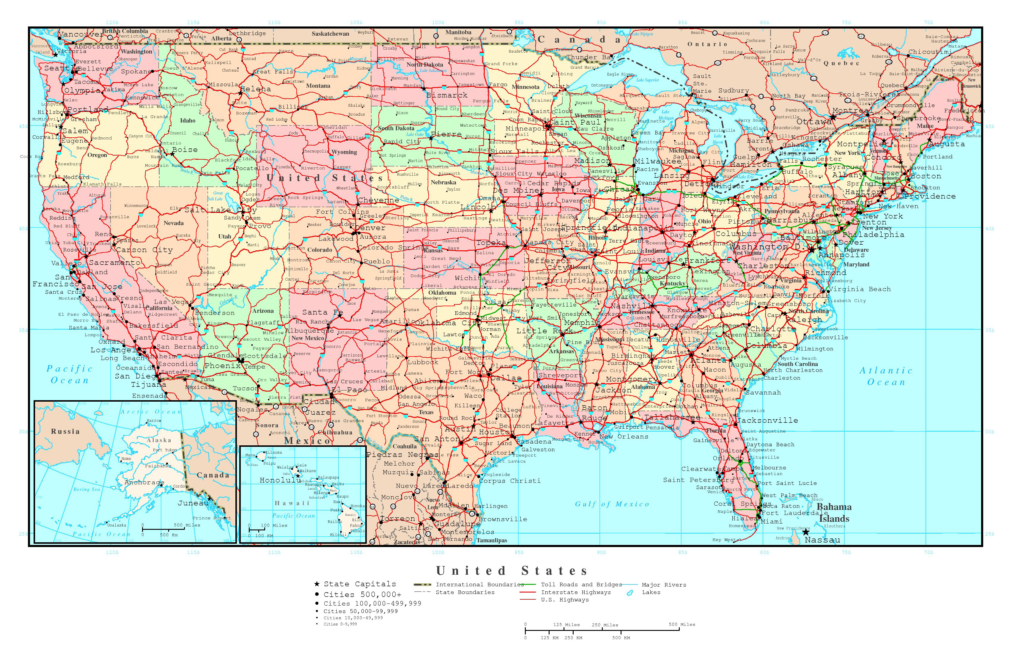 Large political and administrative map of the USA with roads and all ...