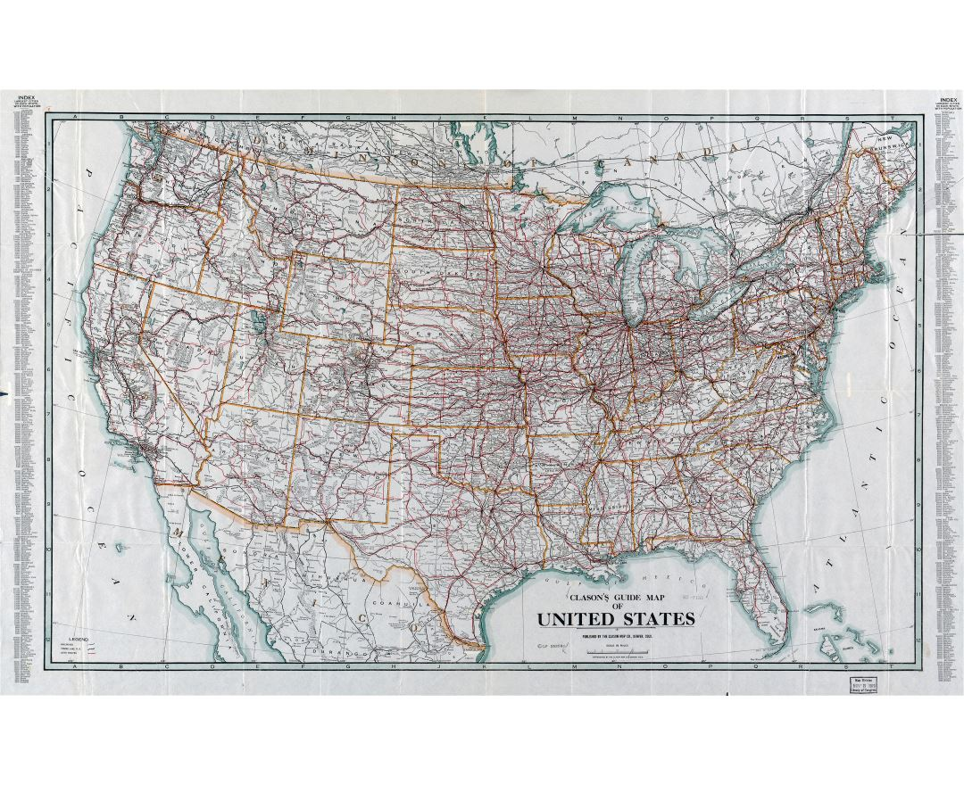 Large scale detailed Clason's guide map of the United States - 1919