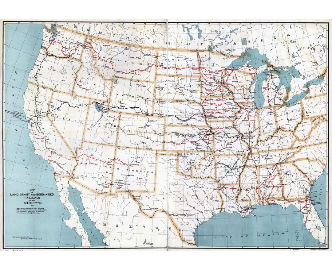 Large scale detailed old map of Land Grant and Bond Aided railroads of the United States - 1892