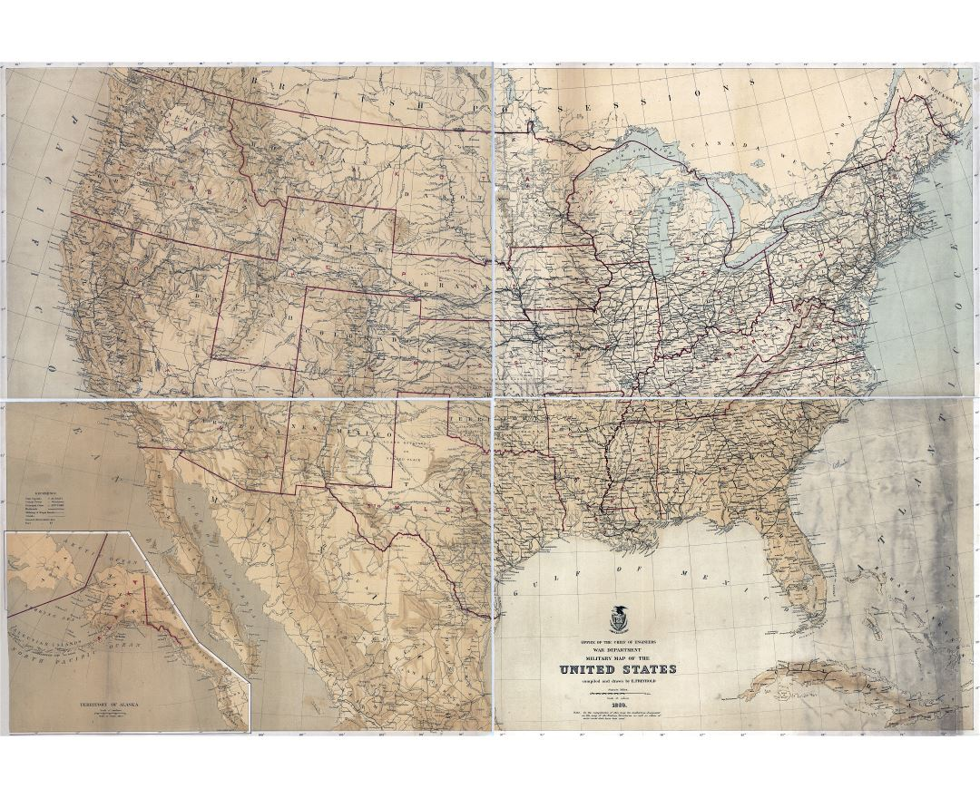 Large scale detailed old military map of the United States - 1869