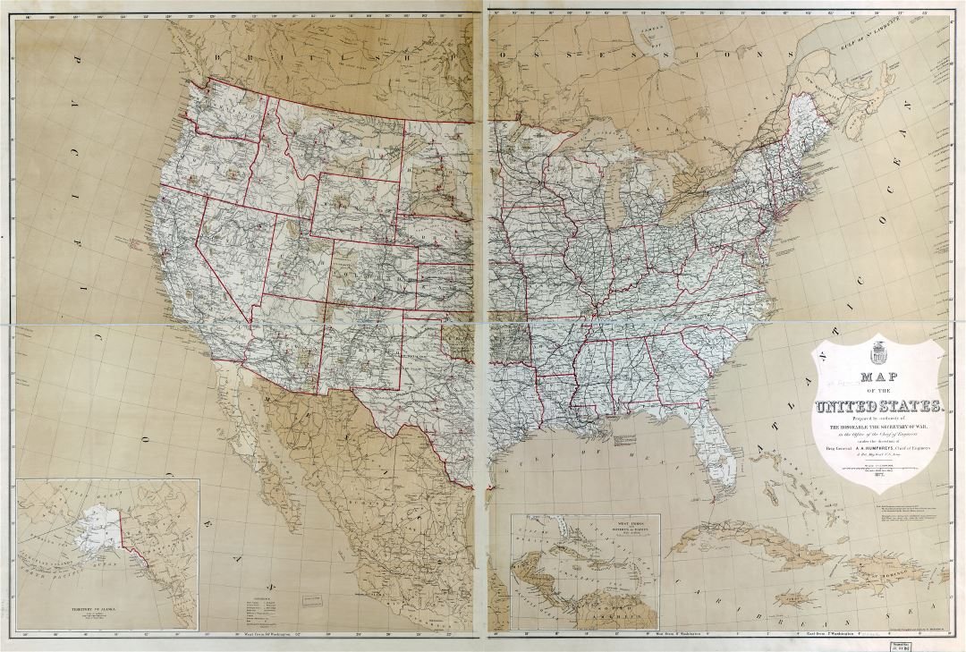 Large scale detailed old political and administrative map of the United States with other marks - 1877