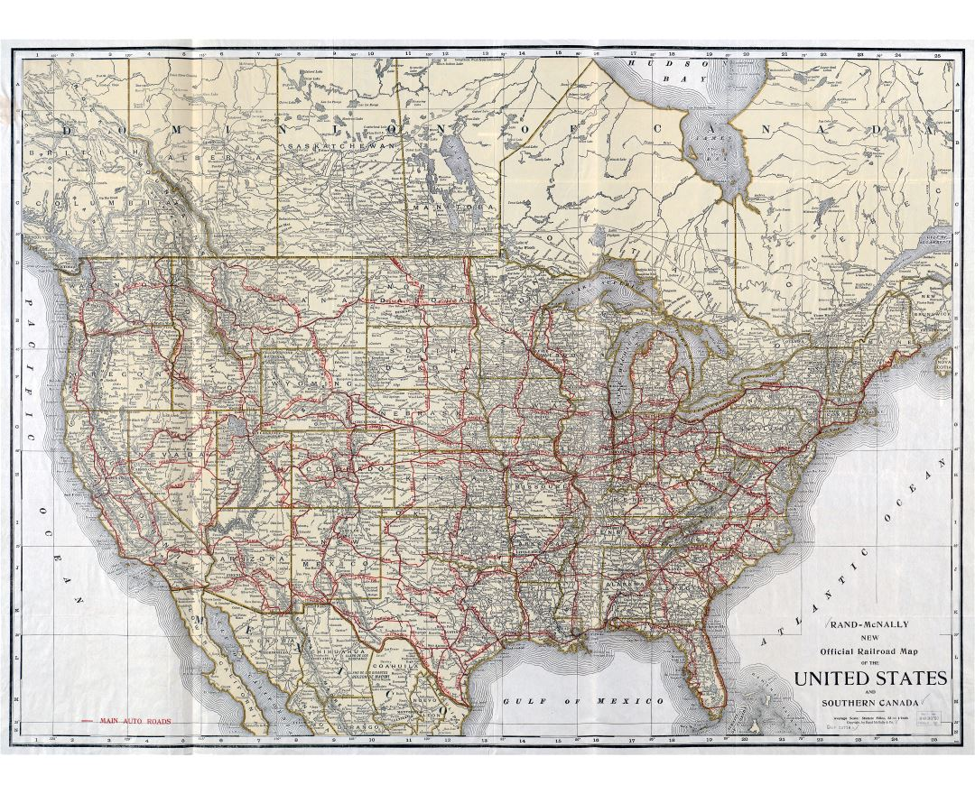Large scale detailed old railroad map of the United States and Southern Canada - 1920