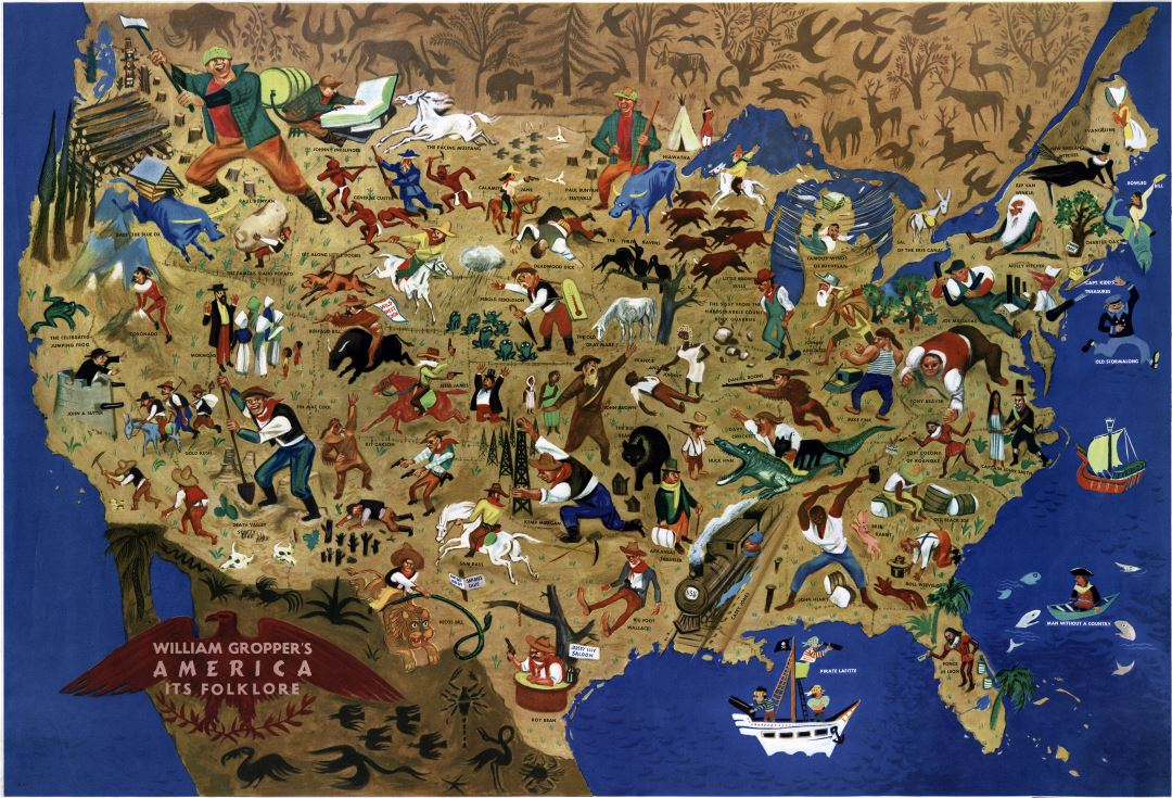 Large scale detailed William Gropper's america its folklore map - 1946
