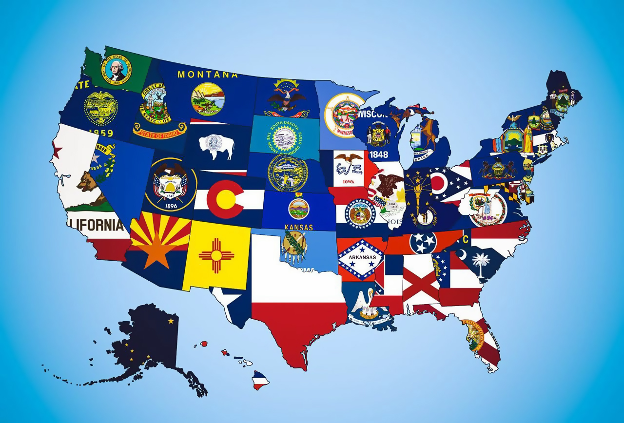 Large states flag map of the USA