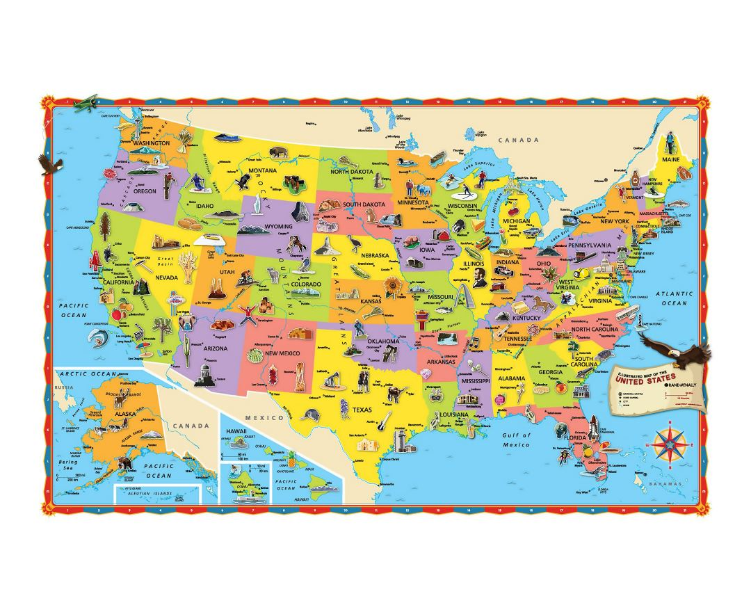 Large tourist illustrated map of the USA