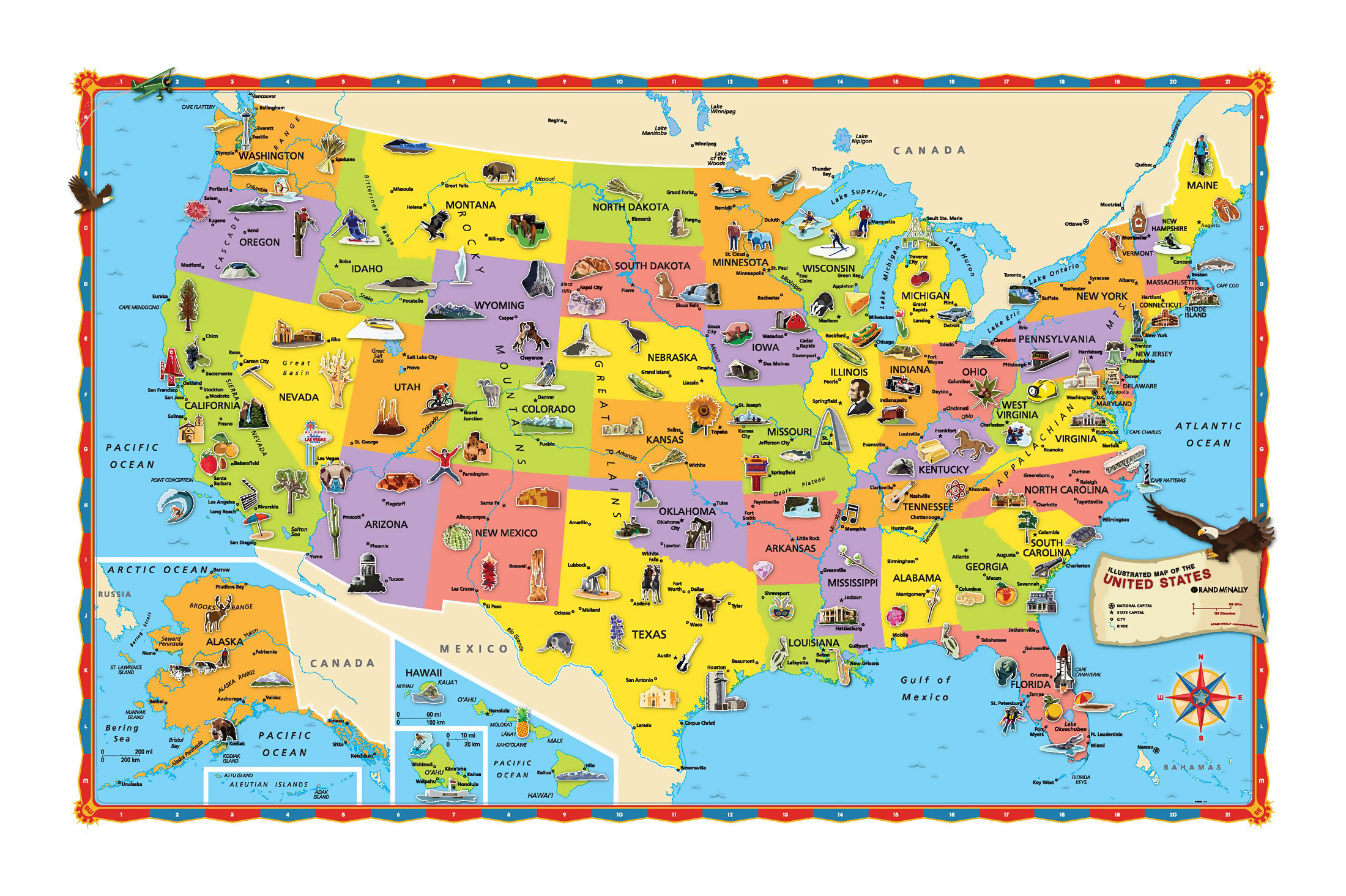 Large Tourist Illustrated Map Of The USA USA United States Of - Usa large map