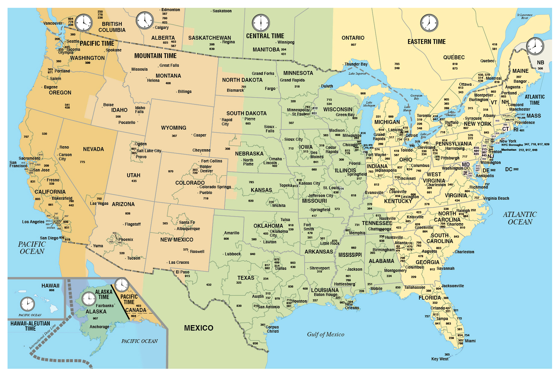 Picture of: Large Usa Area Codes Map With Time Zones Usa United States Of America North America Mapsland Maps Of The World