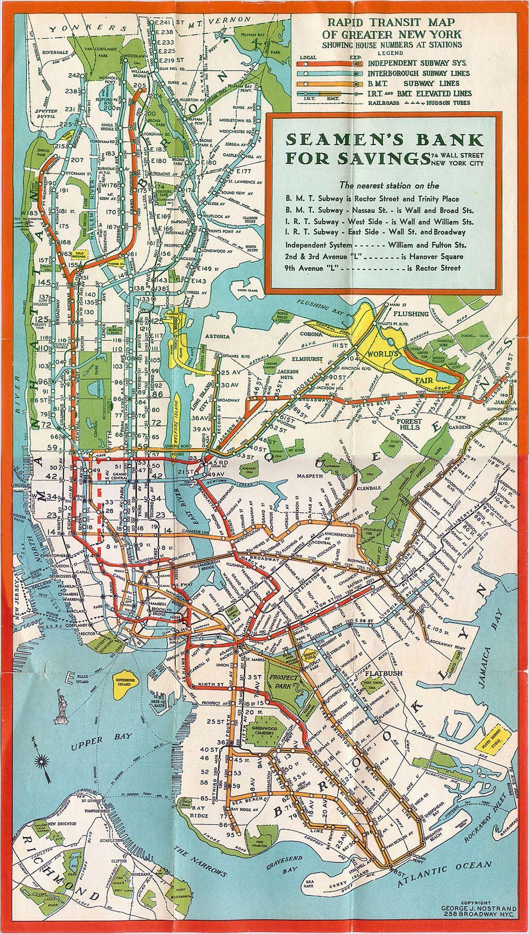 Detailed Manhattan New York Old Subway Map New York - Us map 1930