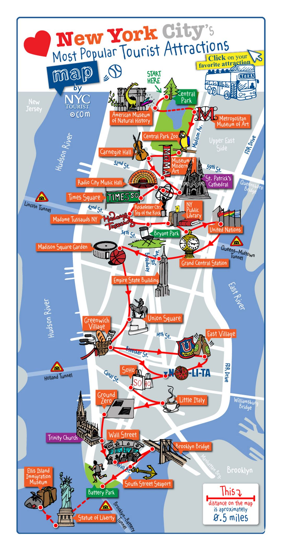 detailed map of most popular tourist attractions of manhattan nyc
