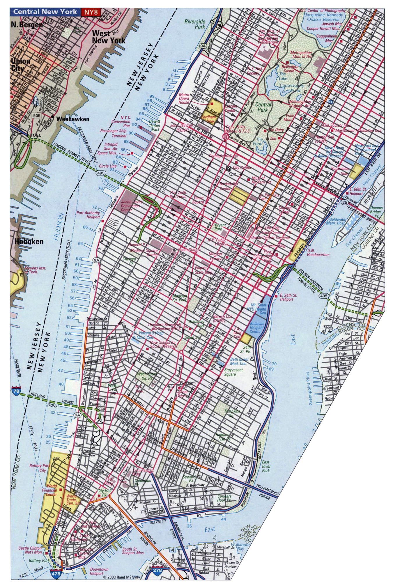 Street Map Of Manhattan Nyc.Detailed Street Map Of Manhattan Nyc New York Usa United