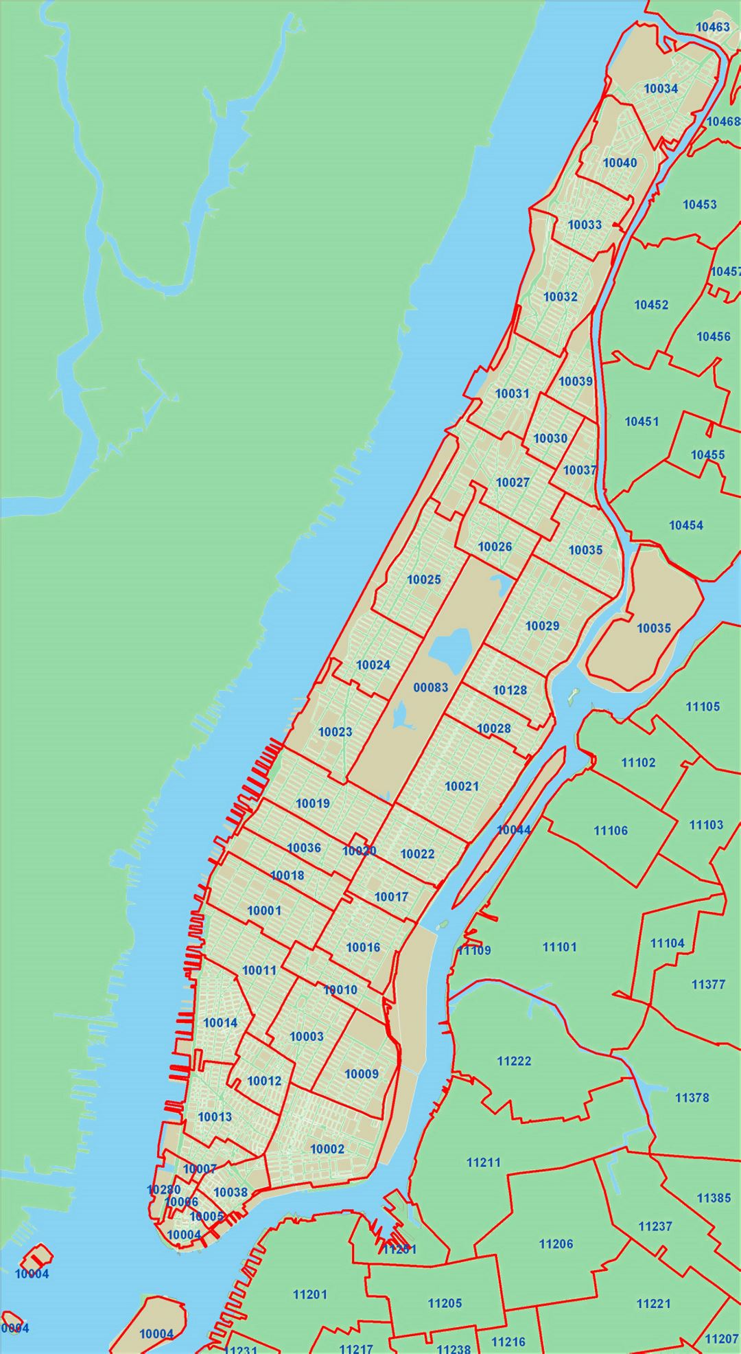Detailed zip codes map of New York city New York USA United