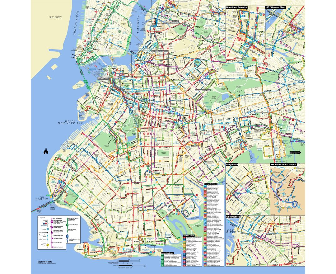 large detailed brooklyn bus map nyc