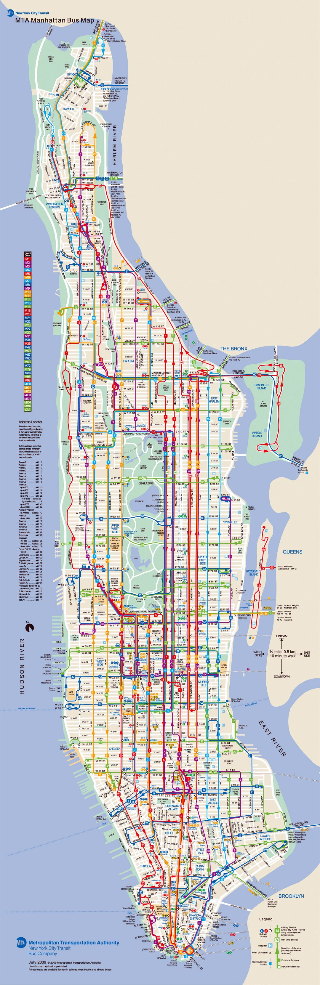 Large detailed bus routes map of Manhattan