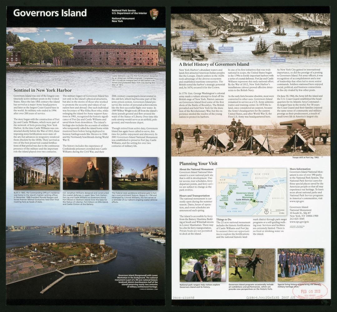 Large detailed Governors Island National Monument tourist information, New York - 2007