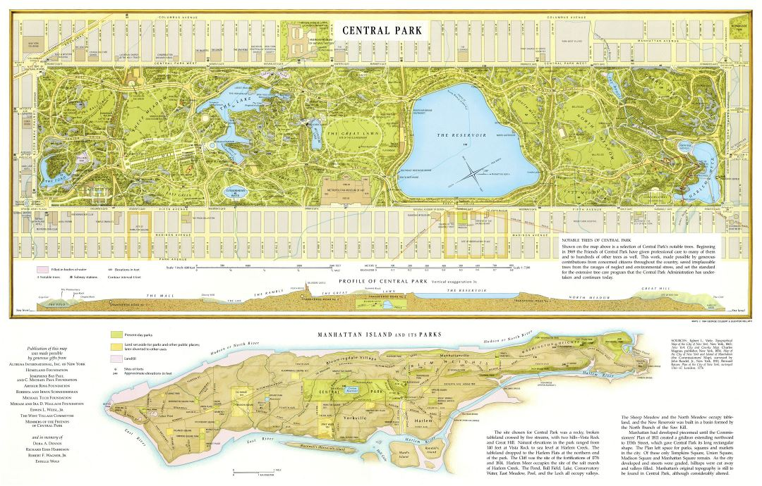 Large detailed map of Central Park, Manhattan, NYC