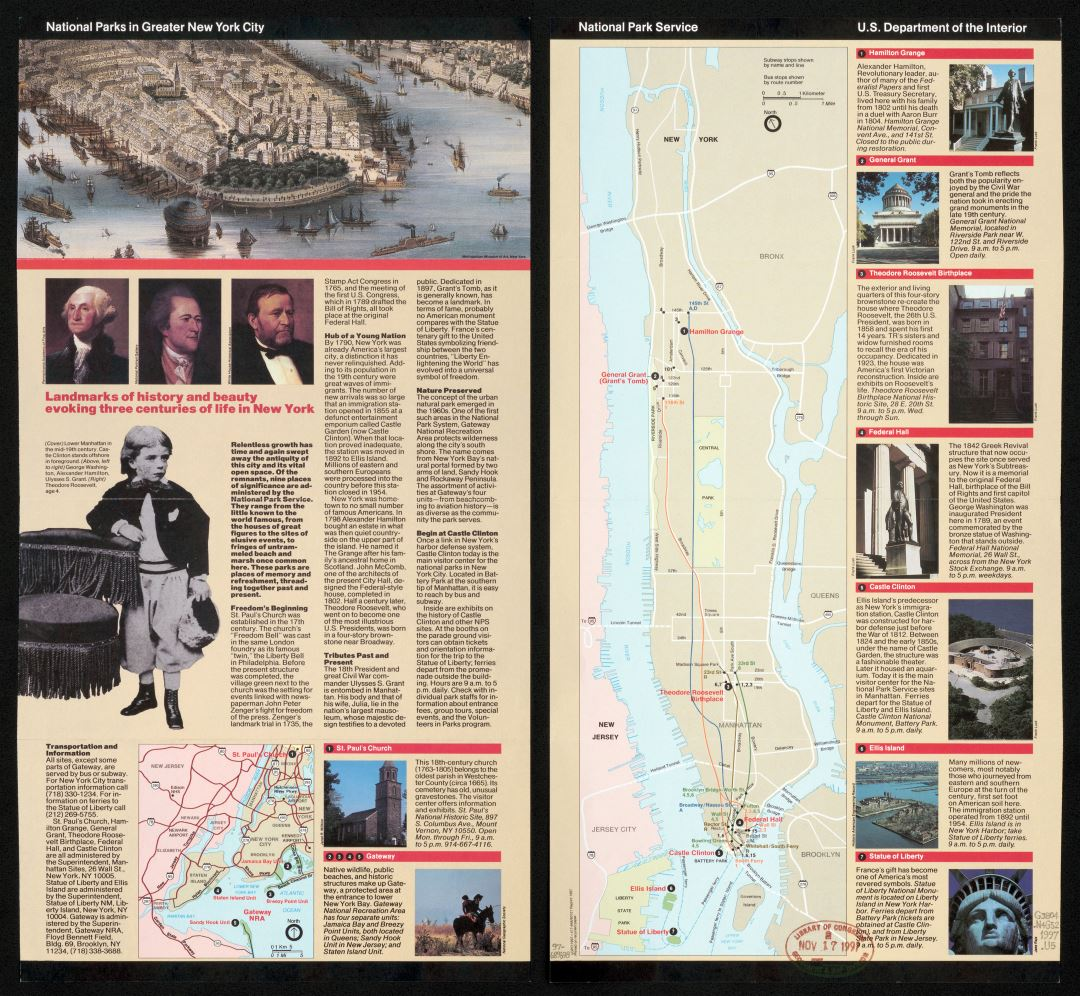 Large detailed map of National Parks in Greater New York city - 1997