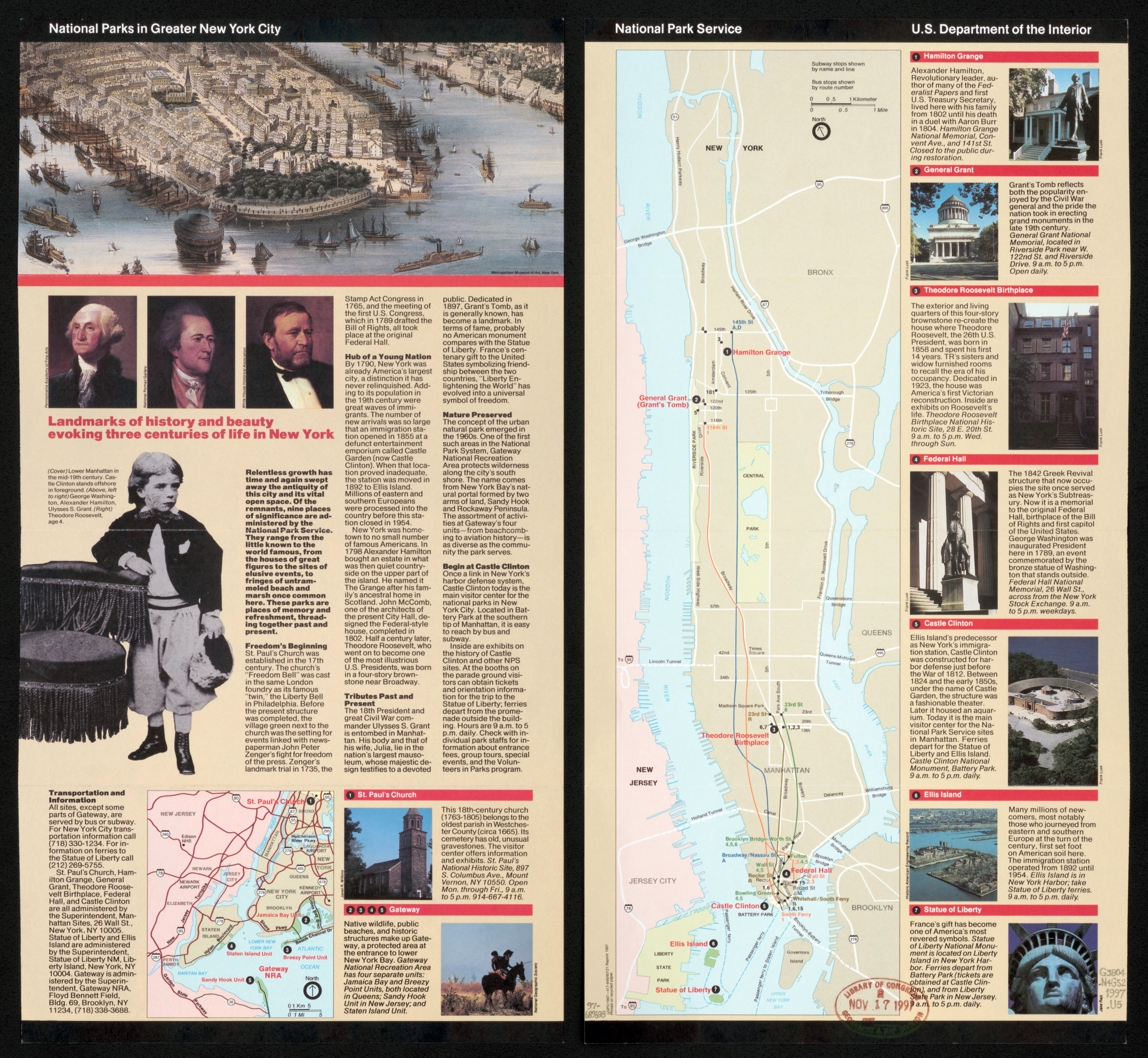 Large detailed map of National Parks in Greater New York city 1997