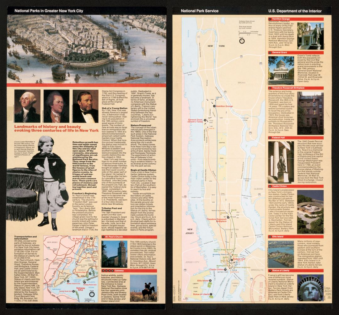 Large detailed map of National Parks in Greater New York city - 2005