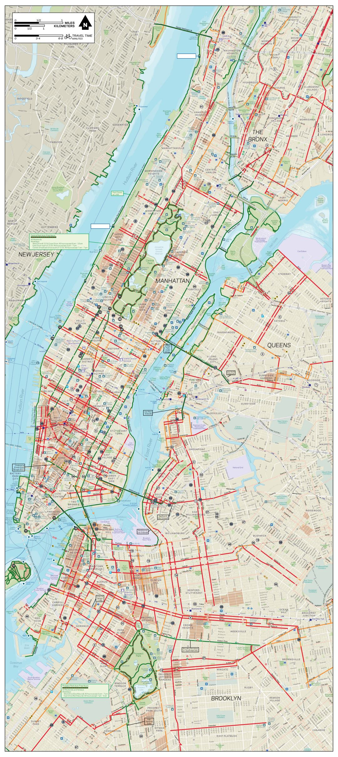 Large detailed New York, Manhattan, Bronx, Queens and Brooklyn bike map