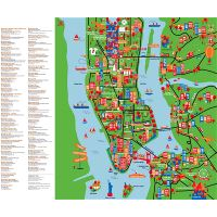 Large detailed tourist attractions map of New York city ...