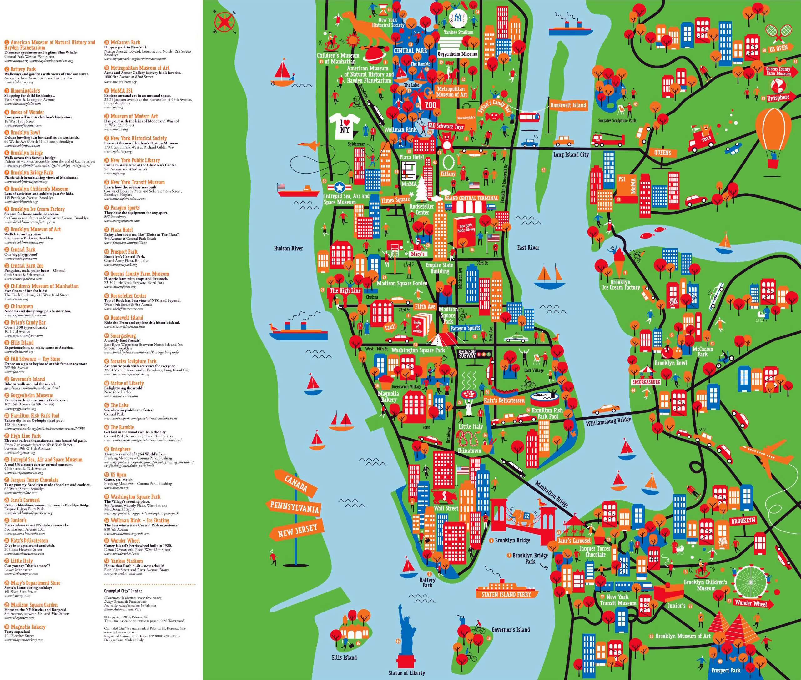 New York Attractions Map Large detailed New York tourist attractions map | New York | USA