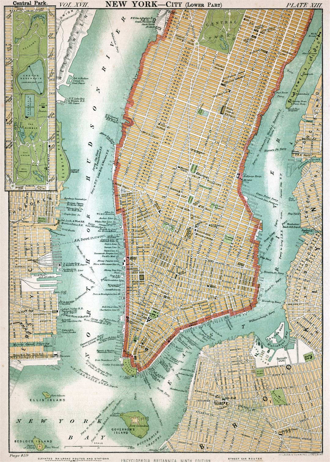 Large detailed old map of Manhattan