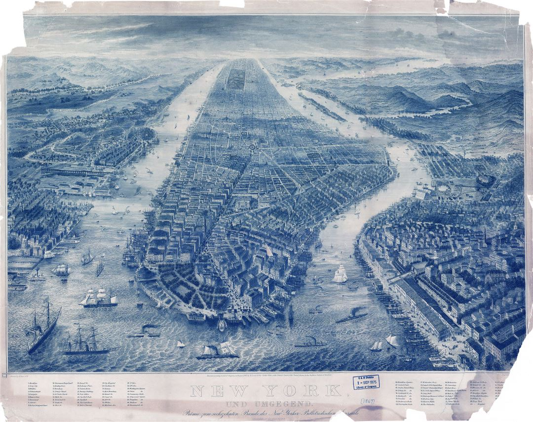 Large detailed old panoramic map of New York - 1867