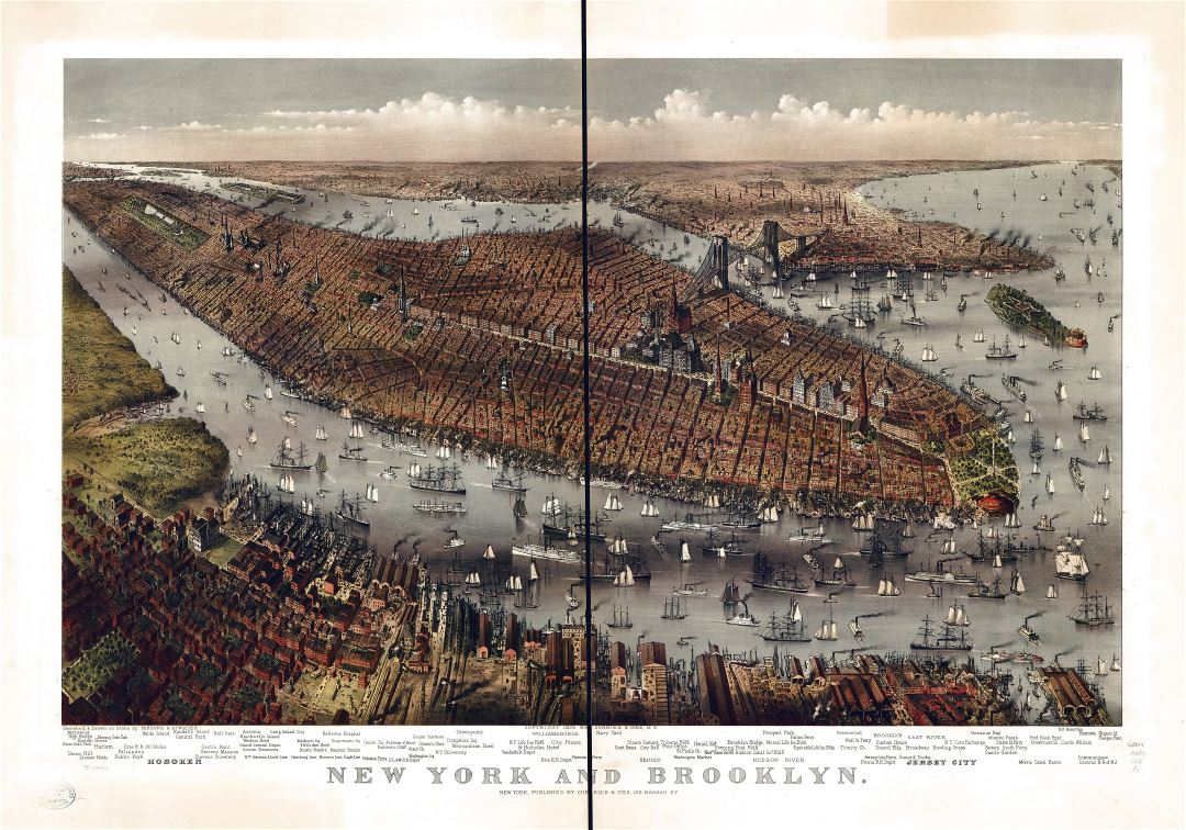 Large detailed old panoramic map of New York and Brooklyn - 1875