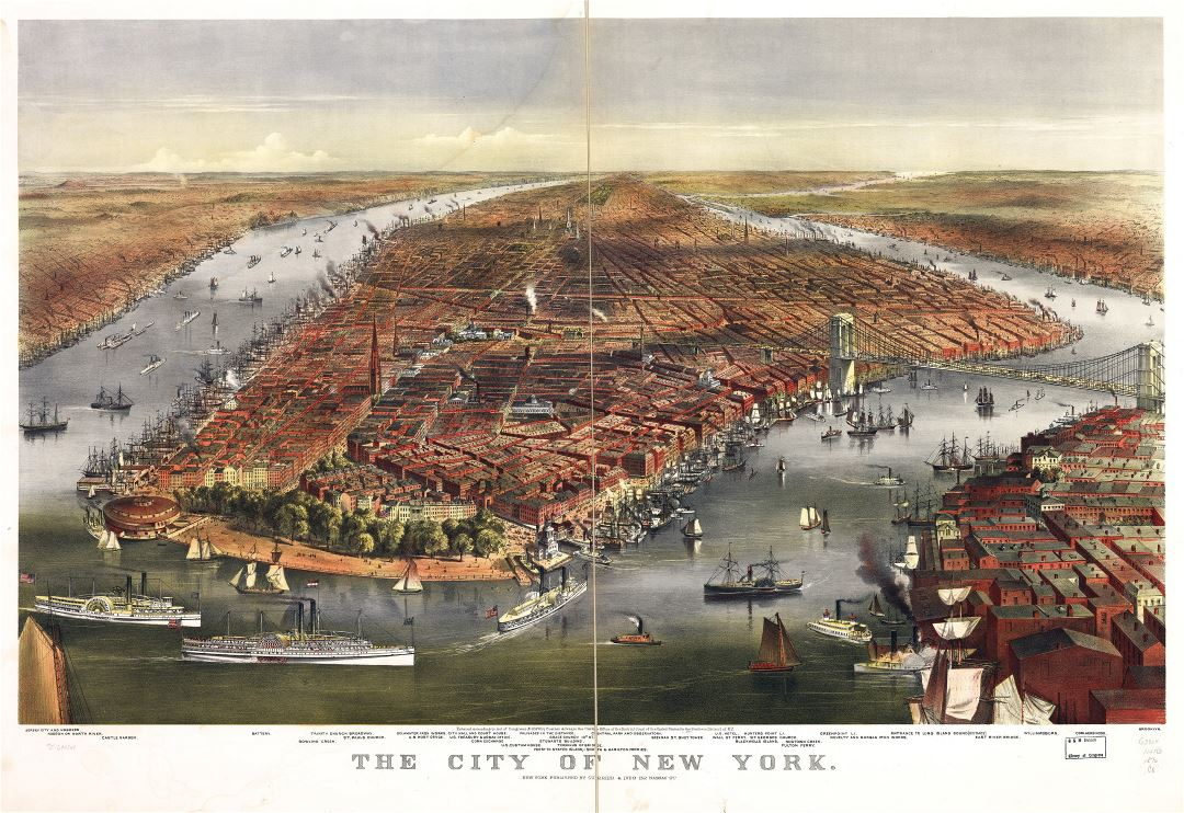 Large detailed old panoramic map of the city of New York - 1870