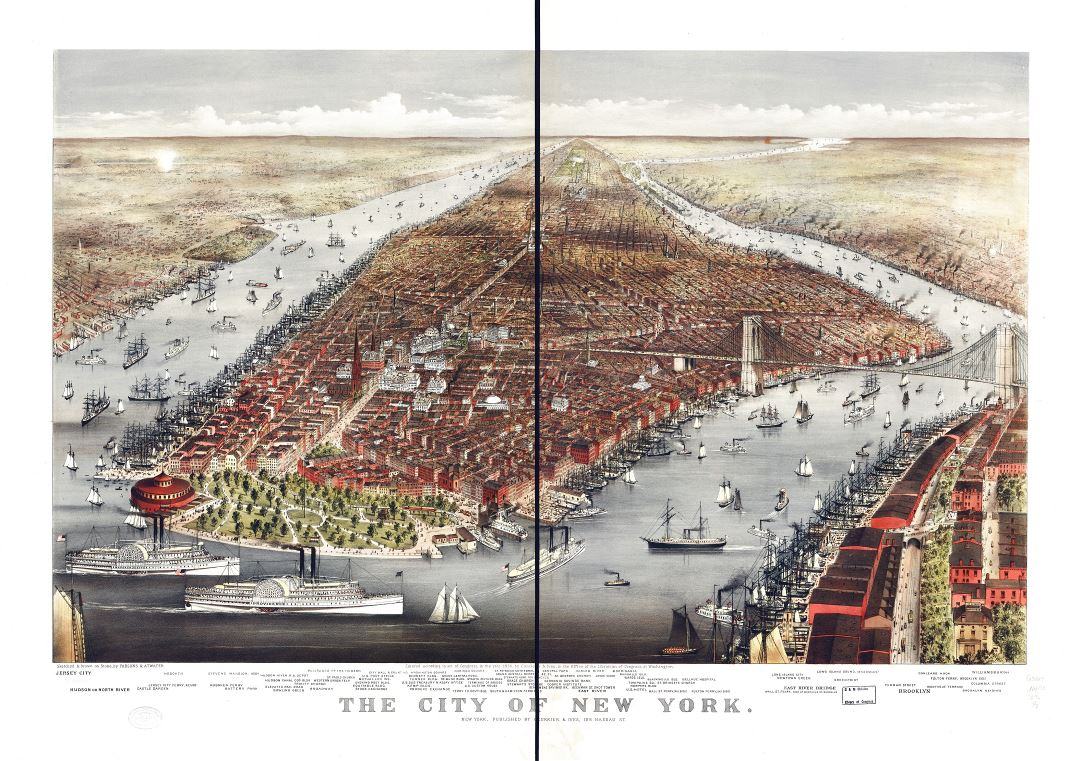 Large detailed old panoramic map of the city of New York - 1876