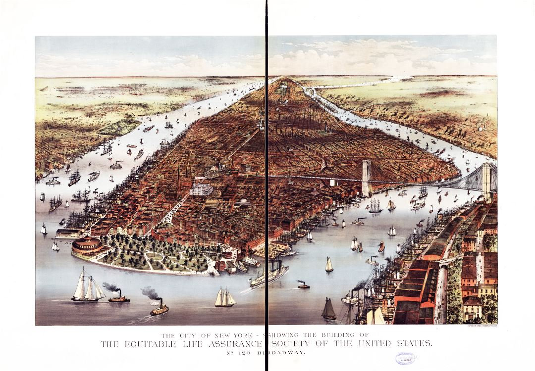 Large detailed old panoramic map of the city of New York - 1883