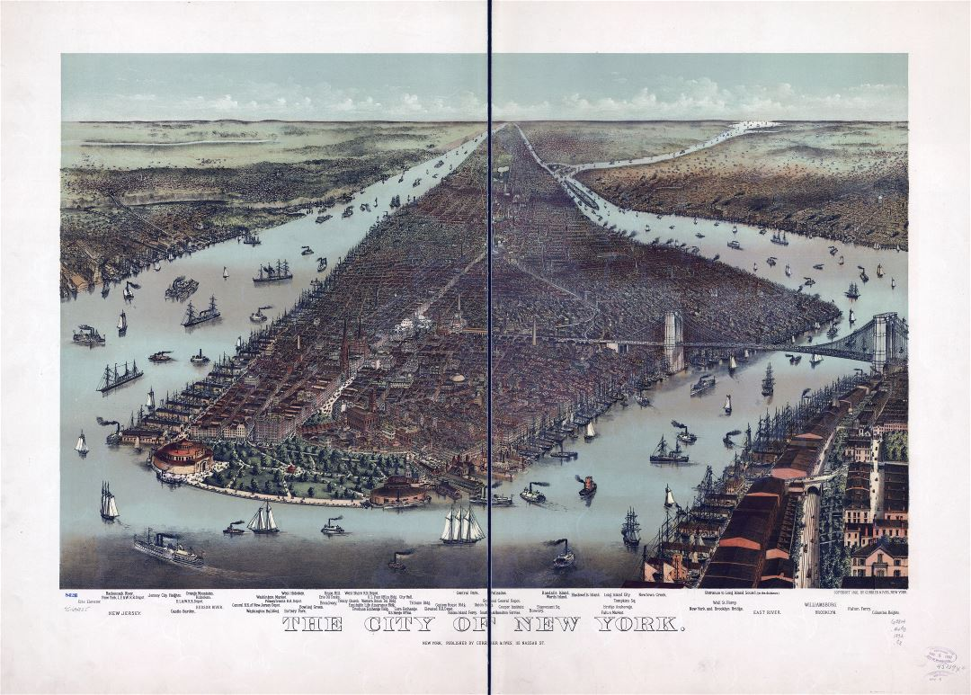 Large detailed old panoramic map of the city of New York - 1892