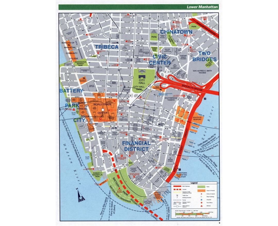 large detailed road map of lower manhattan nyc