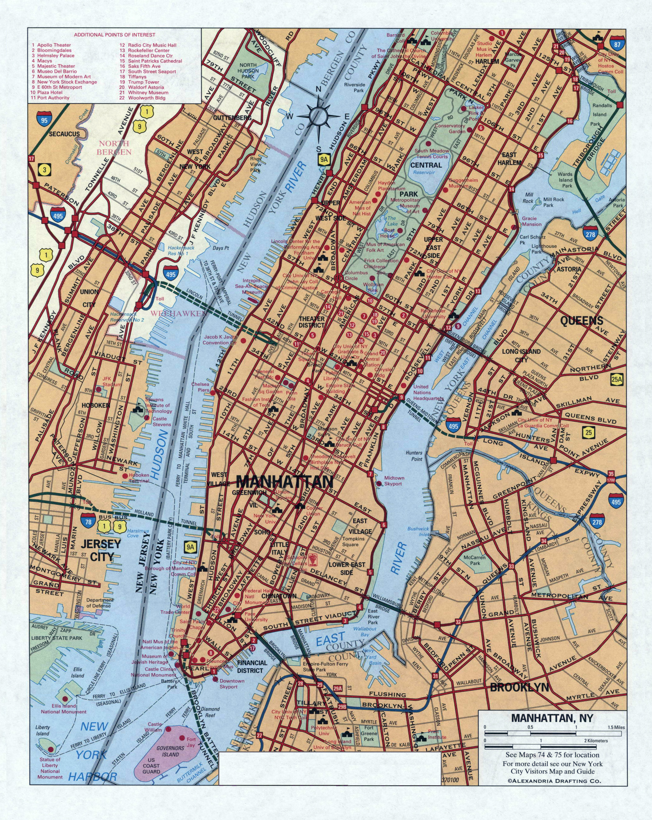 Large detailed road map of Manhattan NYC New York USA United