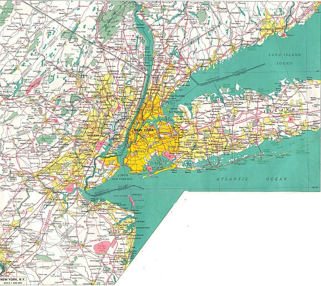 Large detailed road map of New York city and its environs