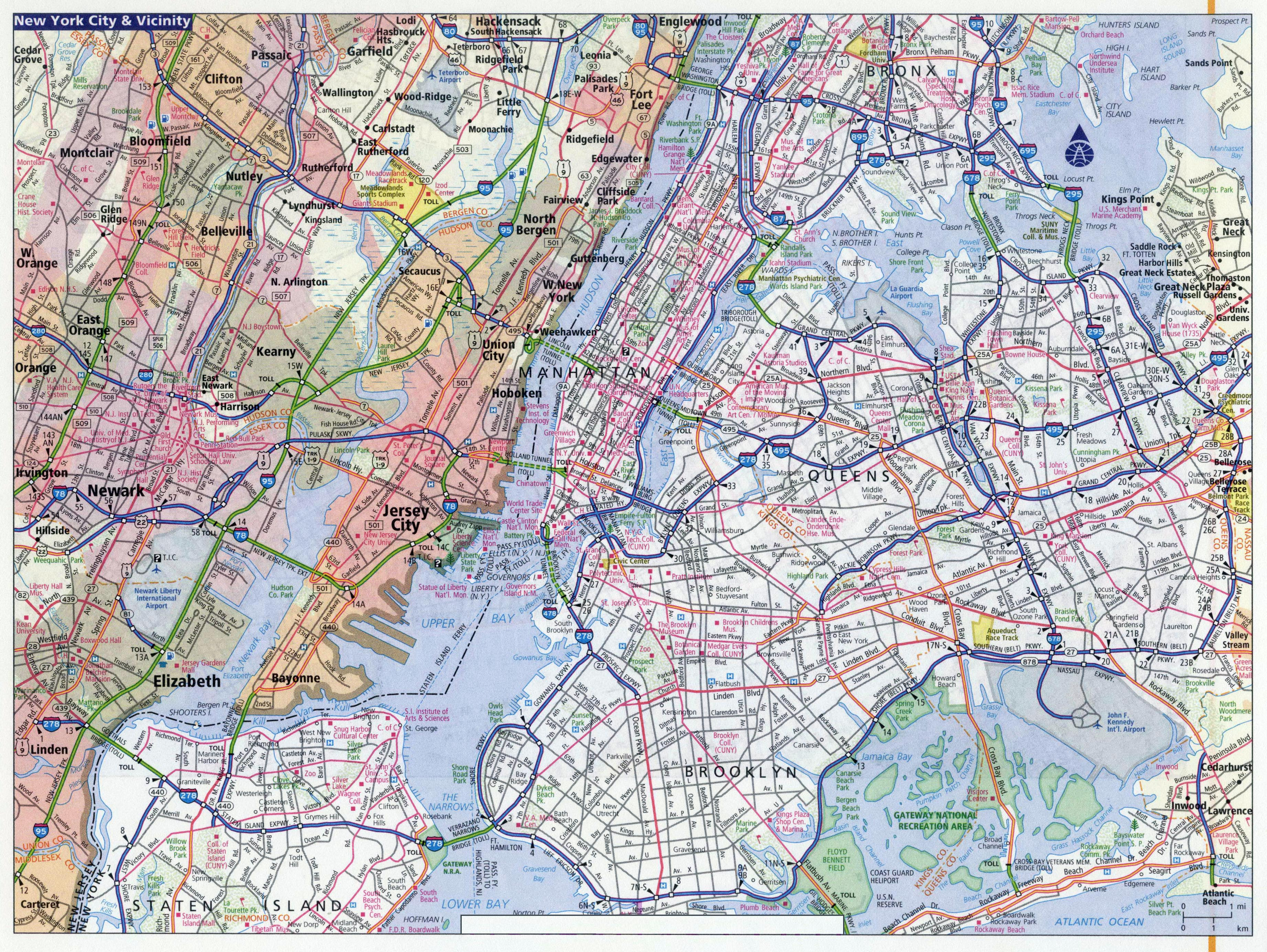 Large Detailed Road Map Of New York City New York Usa