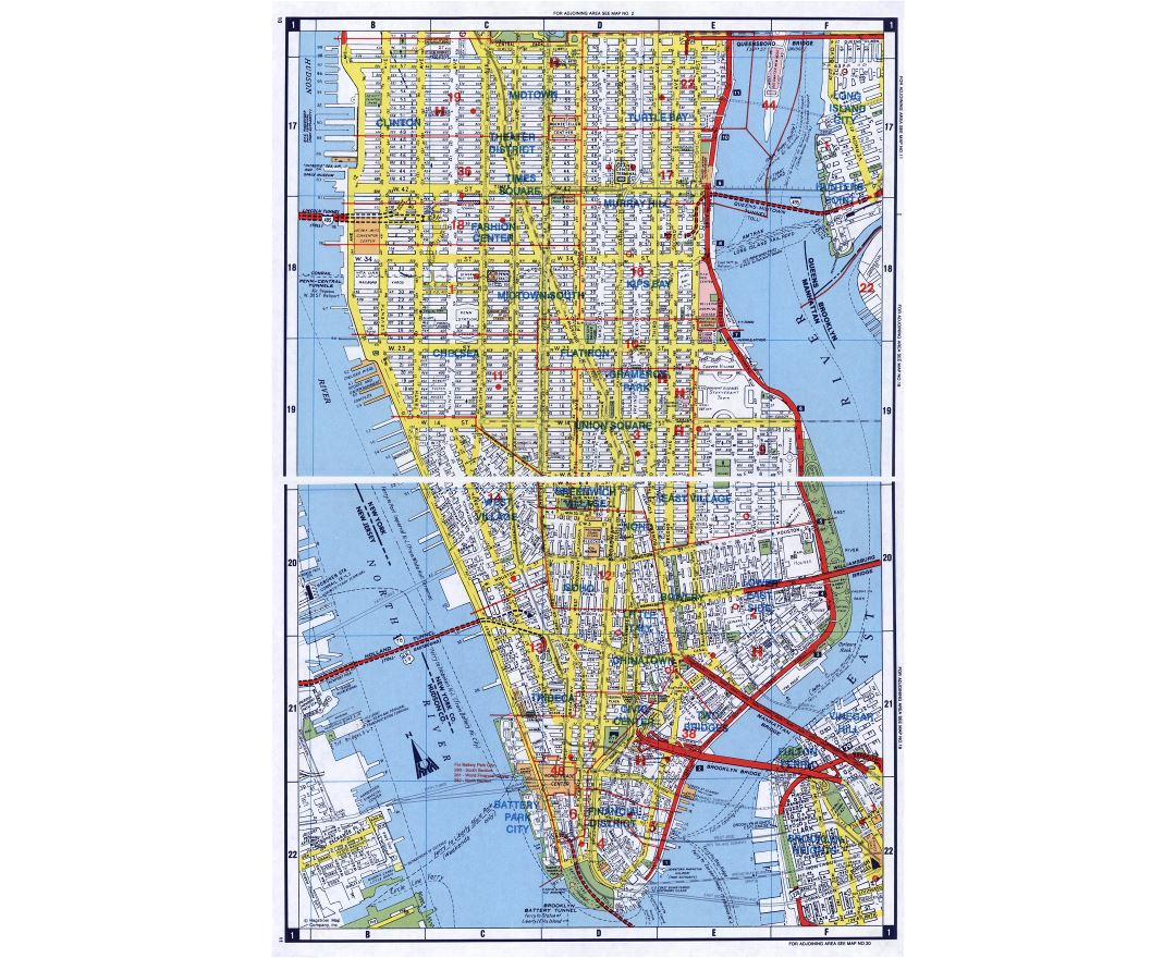 large detailed road map of south manhattan nyc