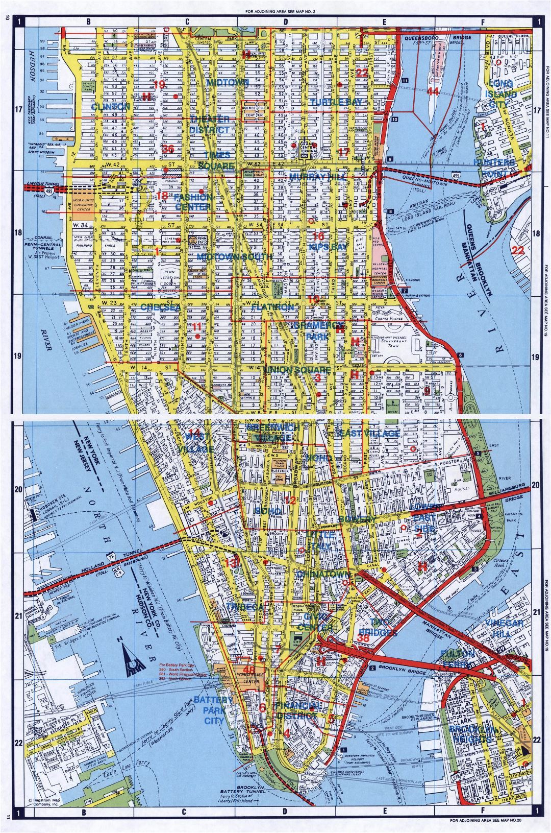 Large detailed road map of South Manhattan, NYC