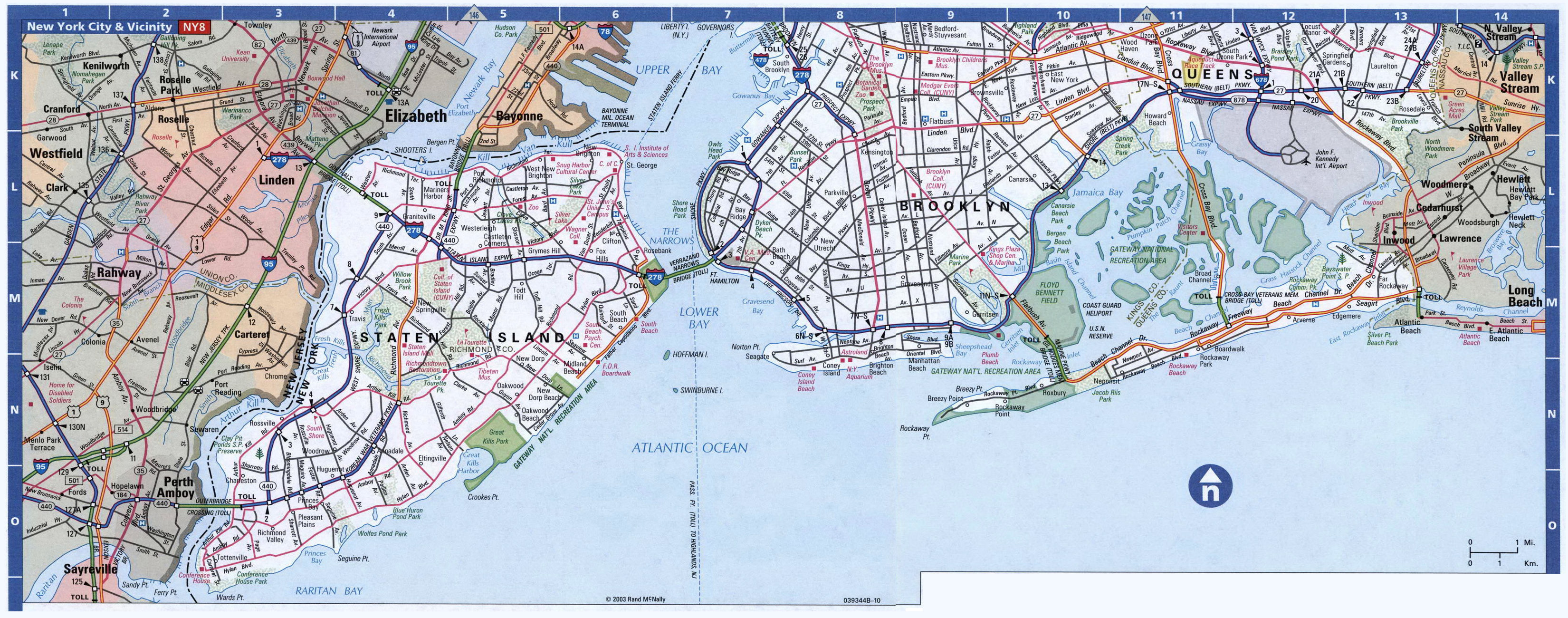 Large Detailed Road Map Of Staten Island Brooklyn And Queens - Nyc map road