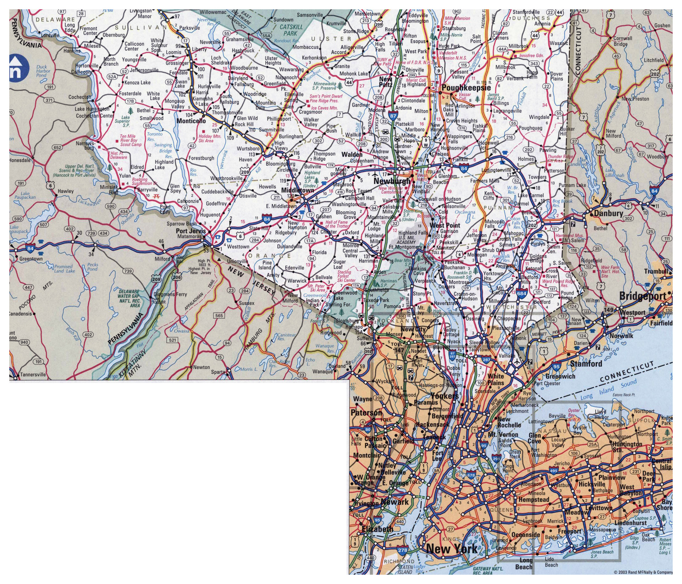 Large detailed roads and highways map of New York city and ...