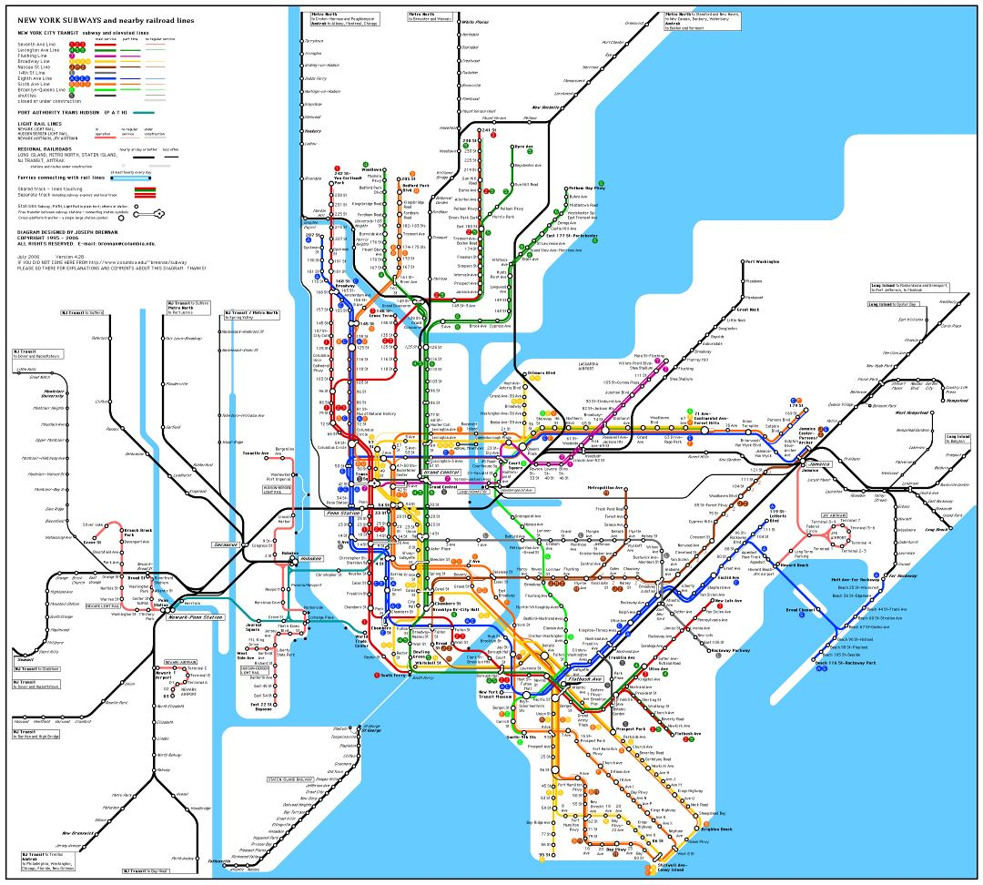 Large detailed subway map of New York city, USA