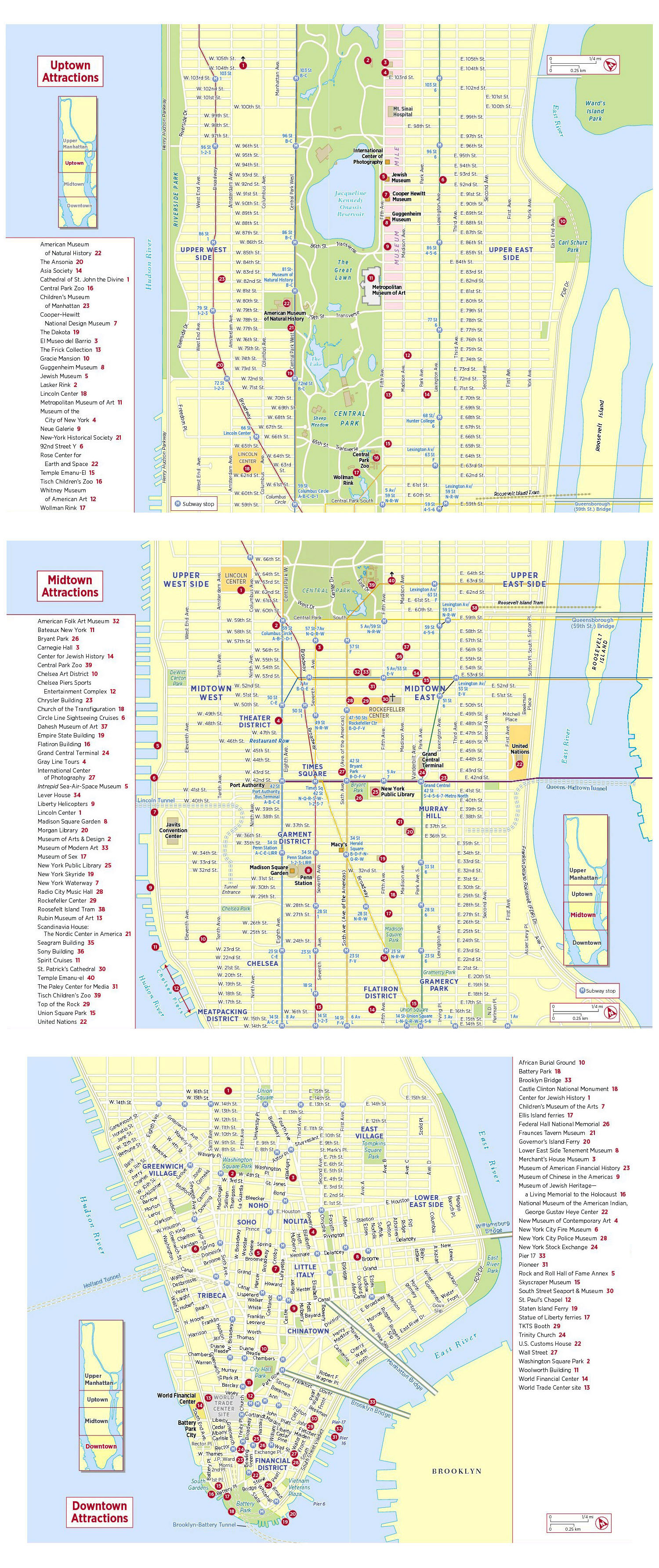 large detailed tourist attractions map of new york city