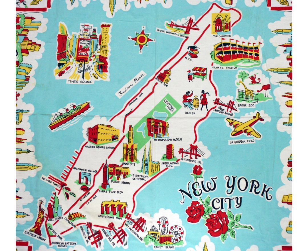 large illustrated tourist map of new york city. maps of new york  detailed map of new york city in english