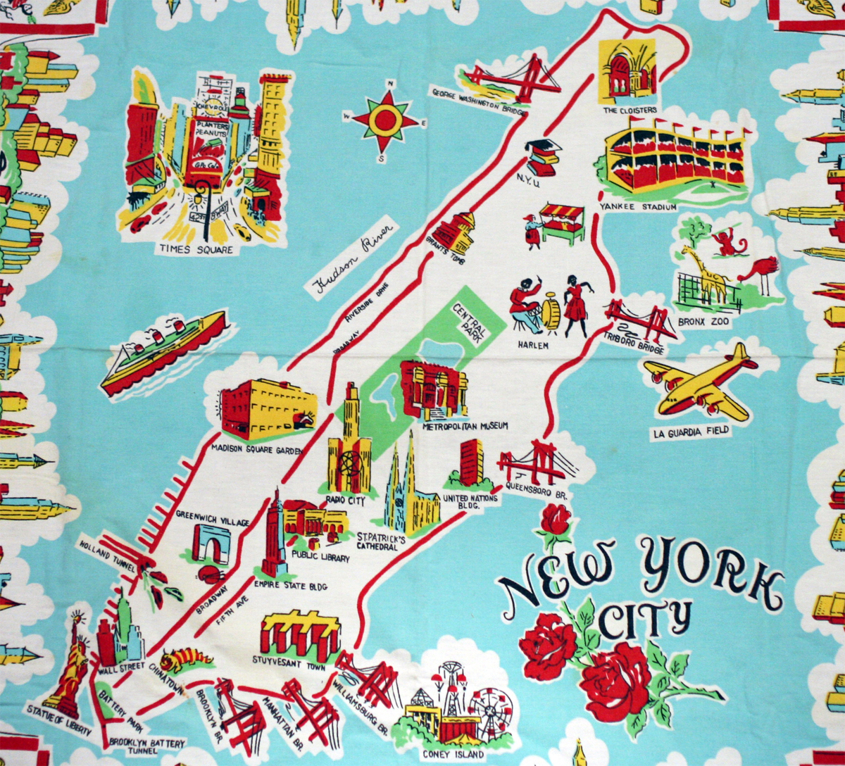 Tourist Map Of New York.Large Illustrated Tourist Map Of New York City New York Usa