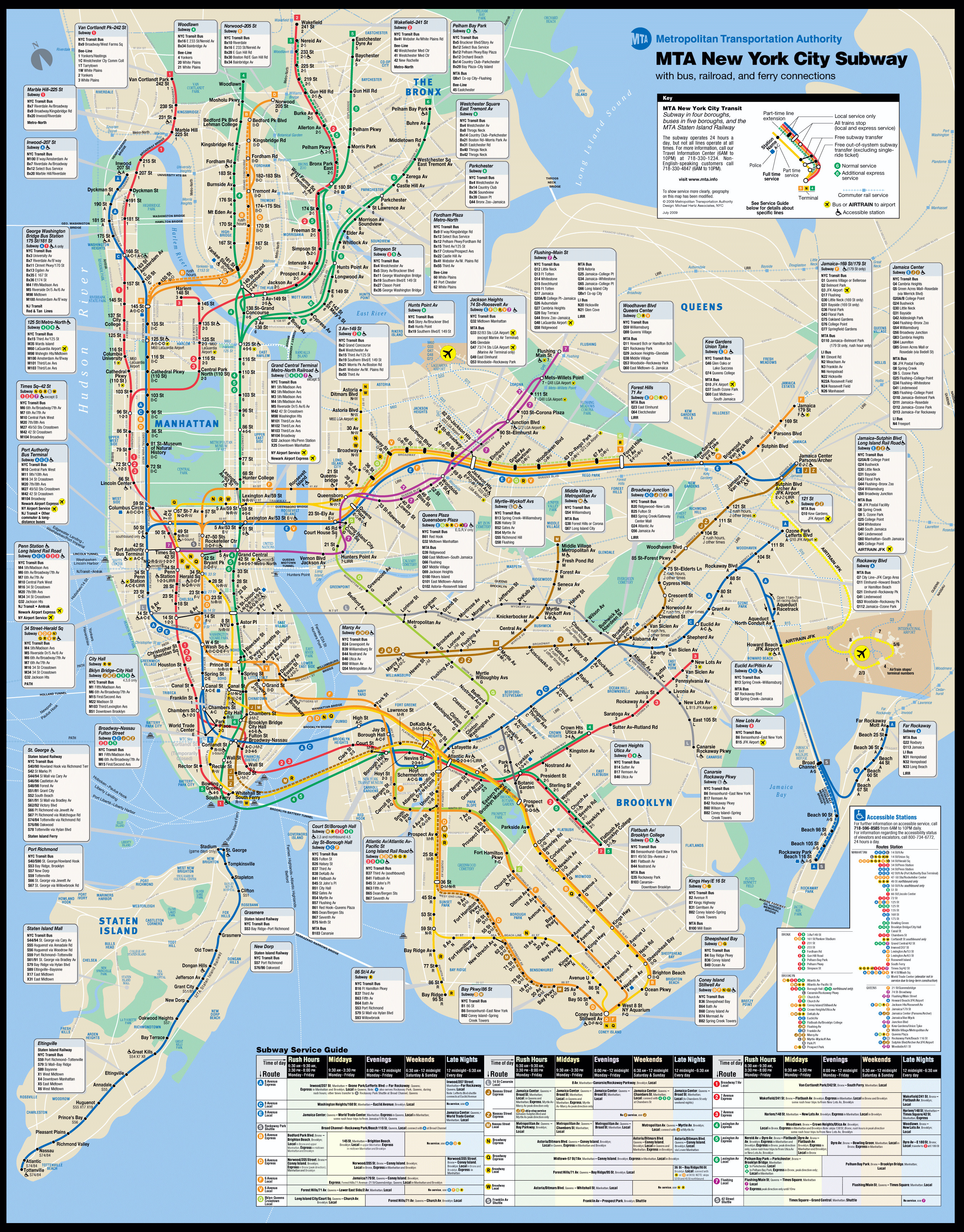 Large New York city subway metro map New York USA United