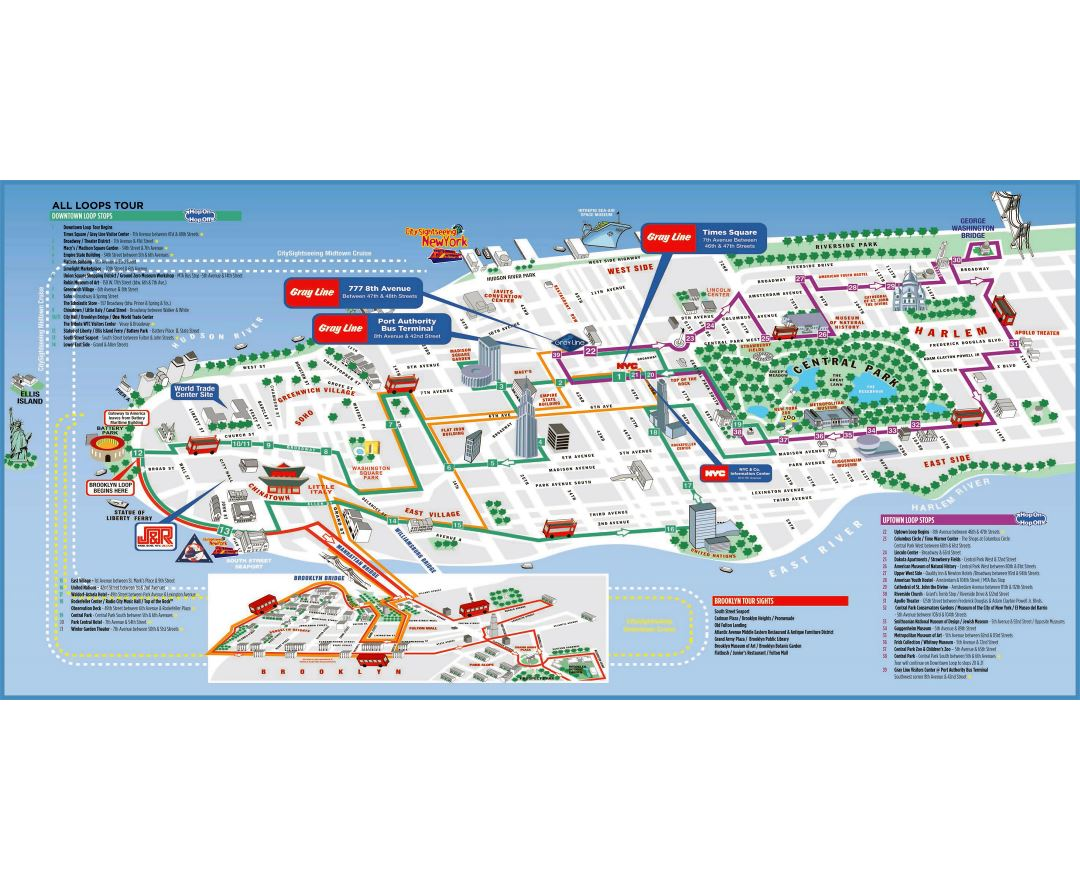 large printable tourist attractions map of manhattan new york city