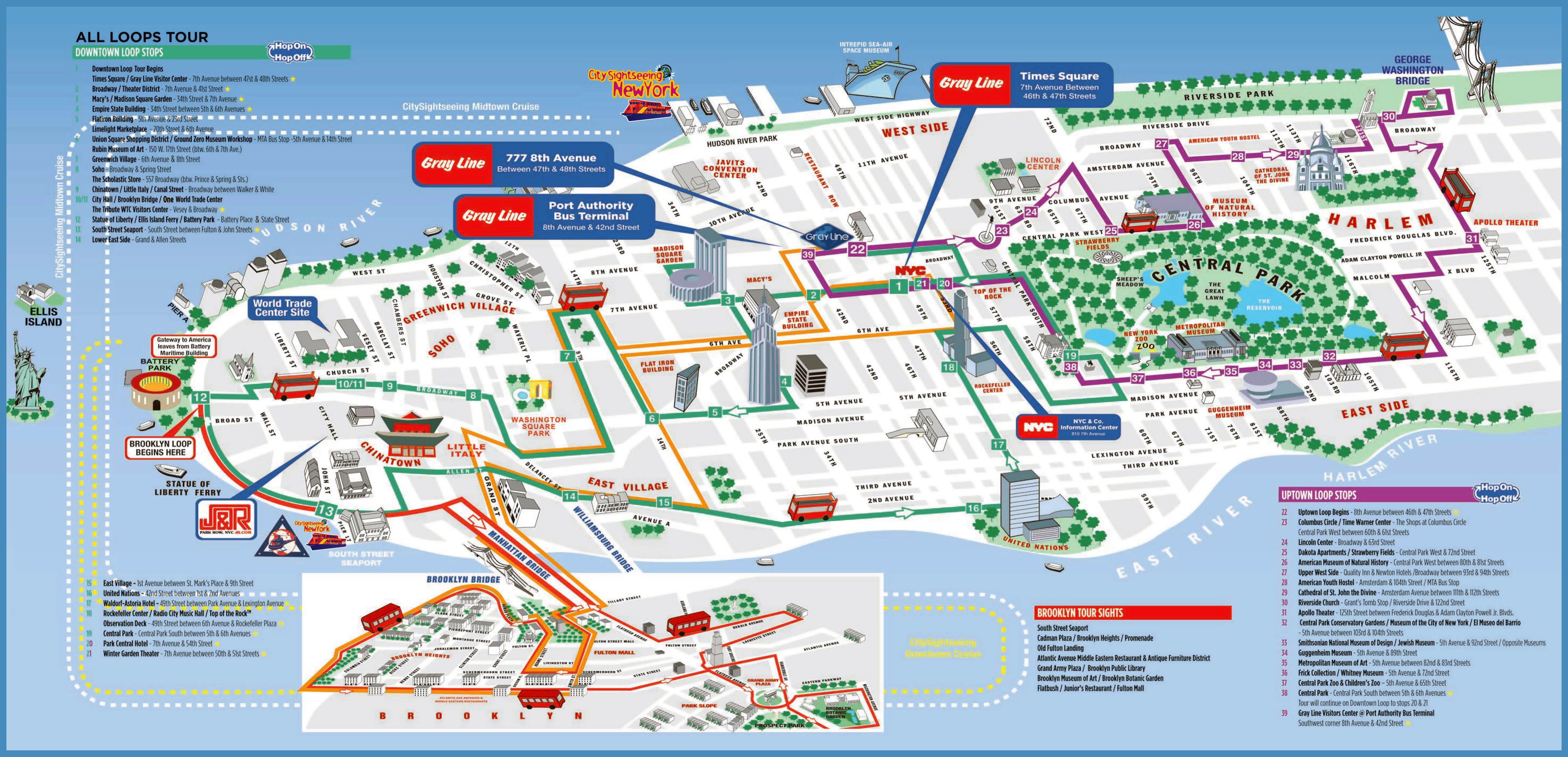 Large printable tourist attractions map of Manhattan, New ...