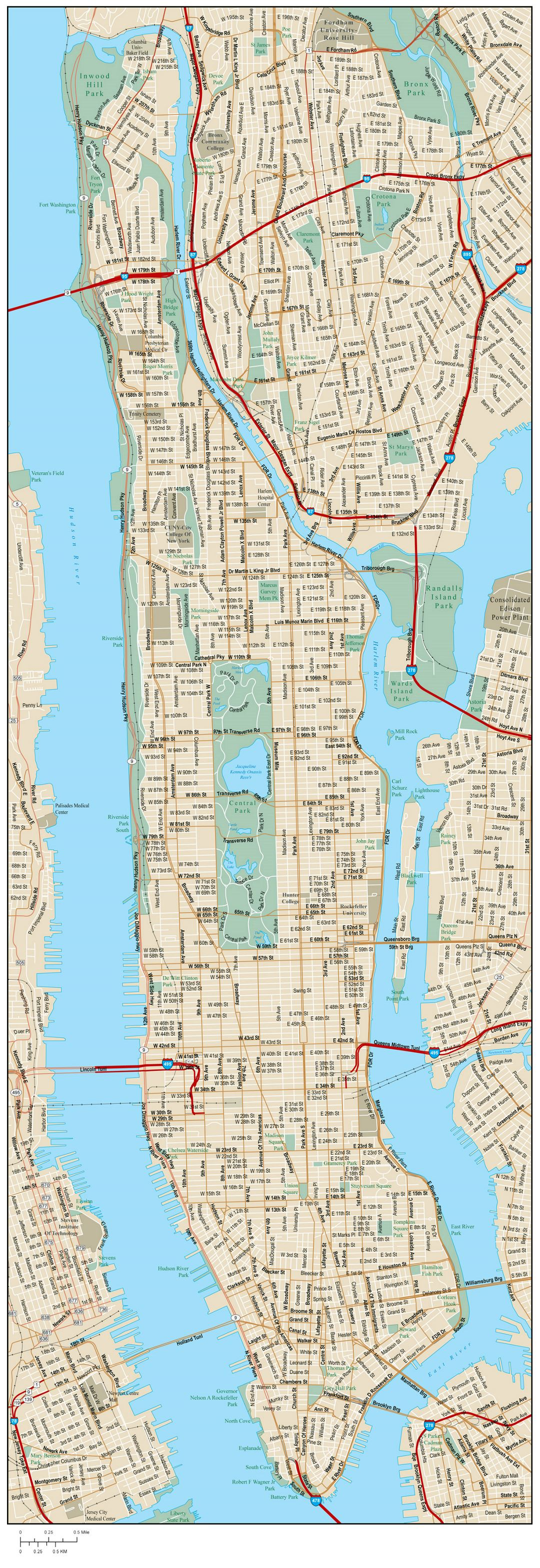 Large road map of Manhattan with street names