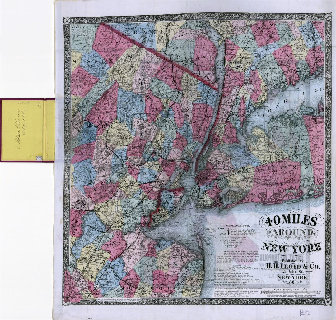 Large scale detailed old map 40 miles around New York - 1867