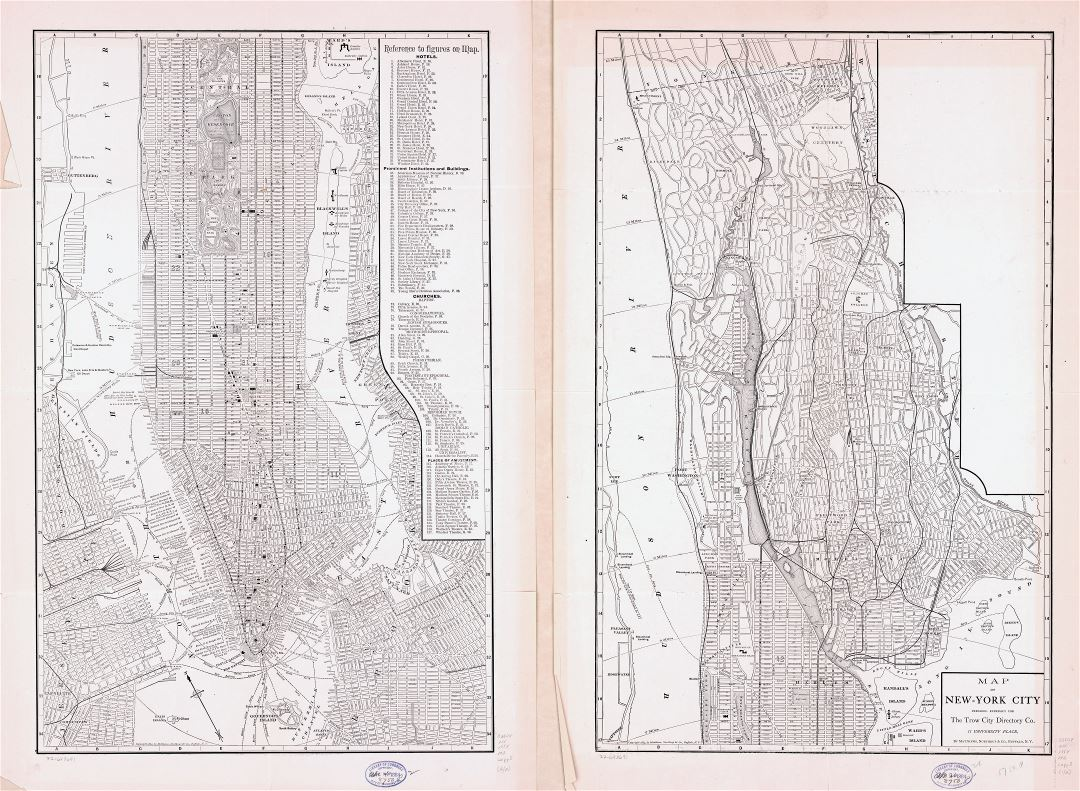 Large scale detailed old map of New York city - 1884
